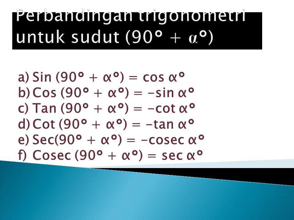 Perbandingan trigonometri untuk sudut (90° + α°)