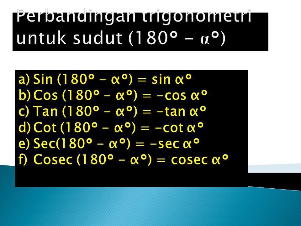 Perbandingan trigonometri untuk sudut (180° - α°)