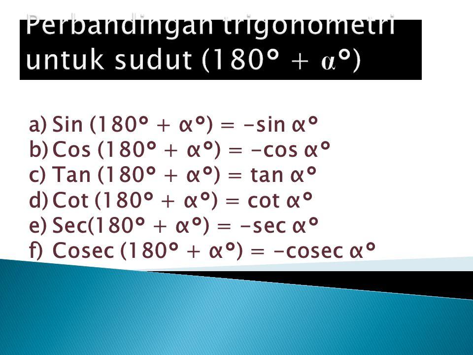 Perbandingan trigonometri untuk sudut (180° + α°)