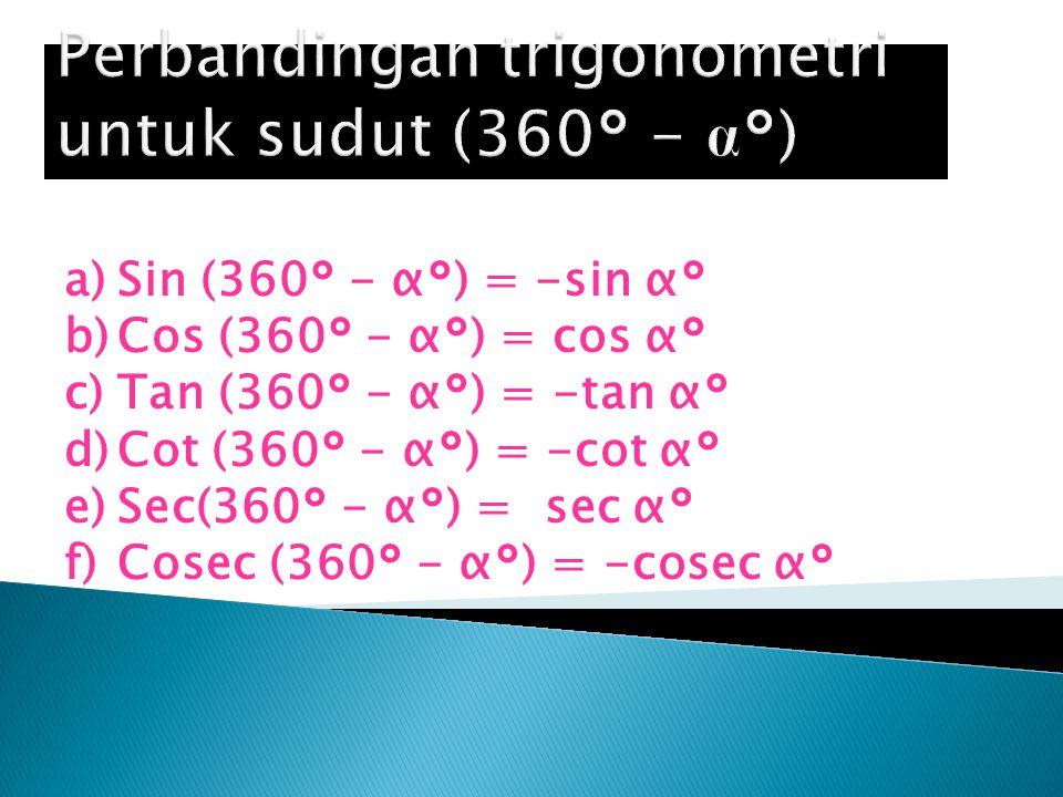 Perbandingan trigonometri untuk sudut (360° - α°)