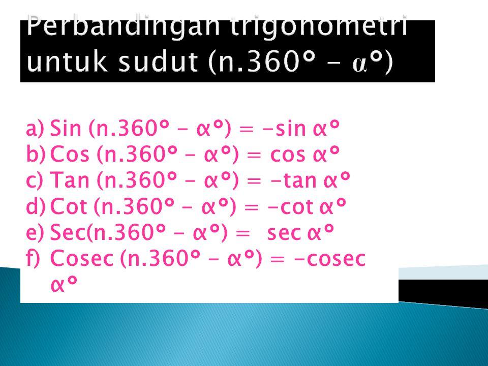 Perbandingan trigonometri untuk sudut (n.360° - α°)