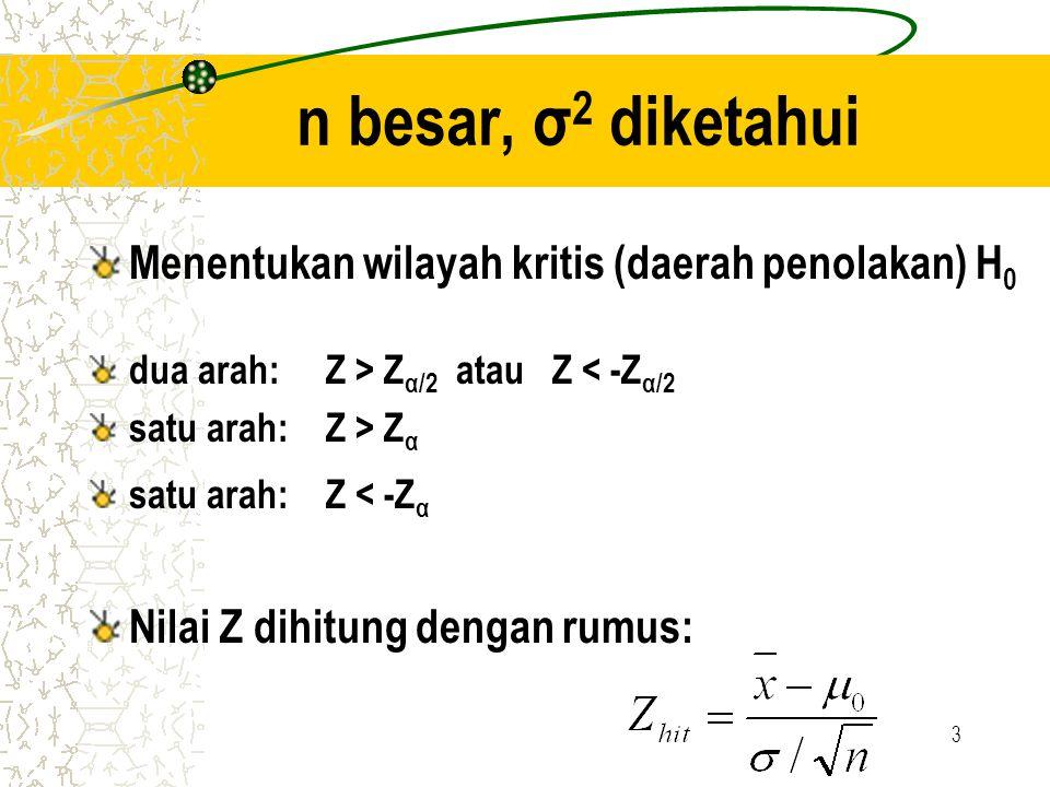 n besar, σ2 diketahui Menentukan wilayah kritis (daerah penolakan) H0
