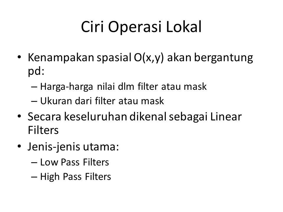 Ciri Operasi Lokal Kenampakan spasial O(x,y) akan bergantung pd: