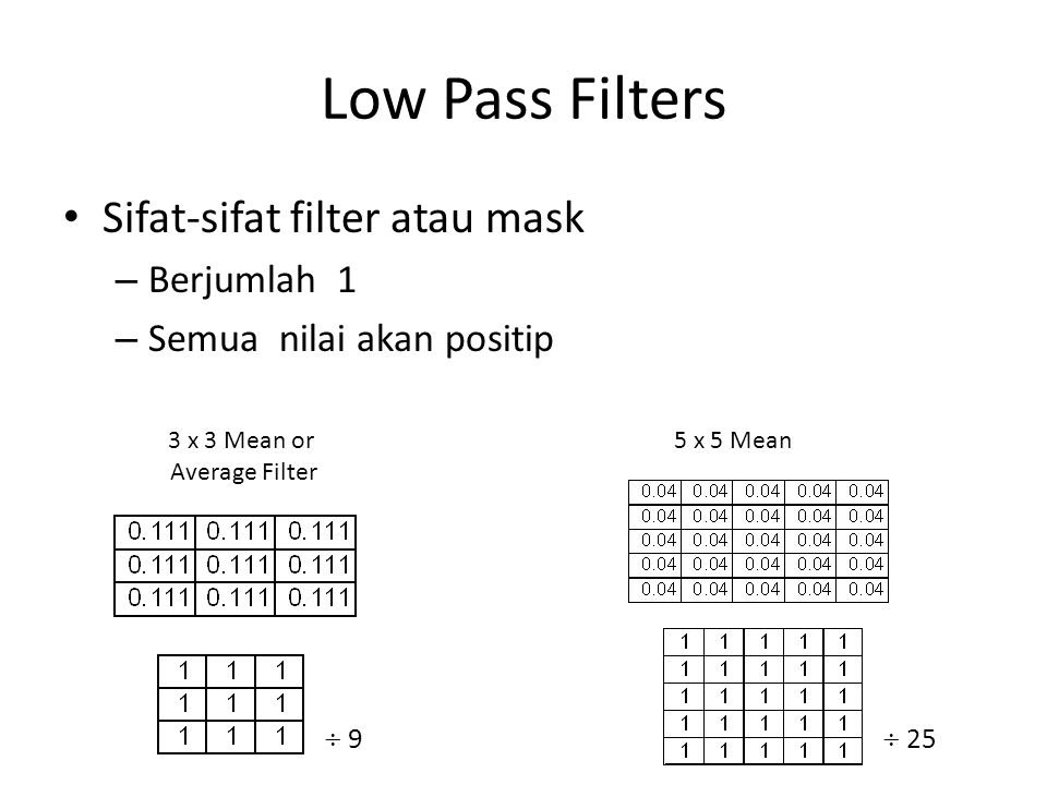Low Pass Filters Sifat-sifat filter atau mask Berjumlah 1