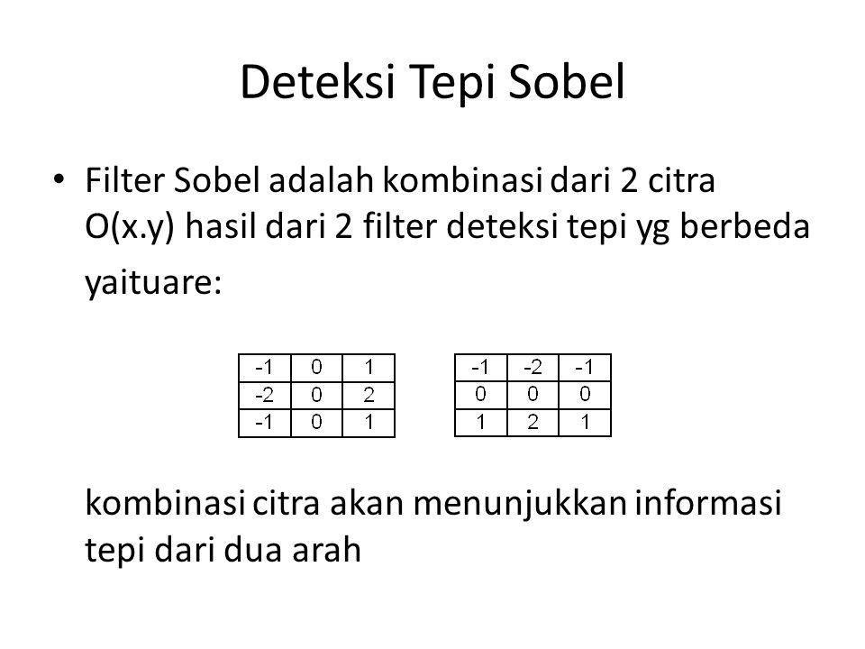 Deteksi Tepi Sobel Filter Sobel adalah kombinasi dari 2 citra O(x.y) hasil dari 2 filter deteksi tepi yg berbeda.