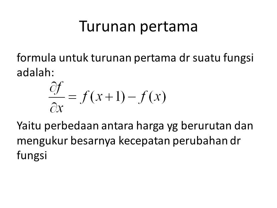 Turunan pertama formula untuk turunan pertama dr suatu fungsi adalah: