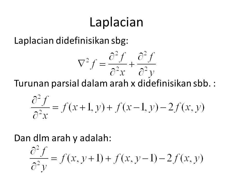 Laplacian Laplacian didefinisikan sbg: