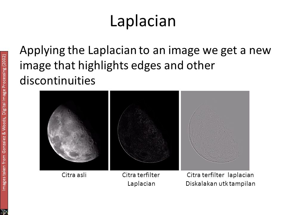 Laplacian Applying the Laplacian to an image we get a new image that highlights edges and other discontinuities.