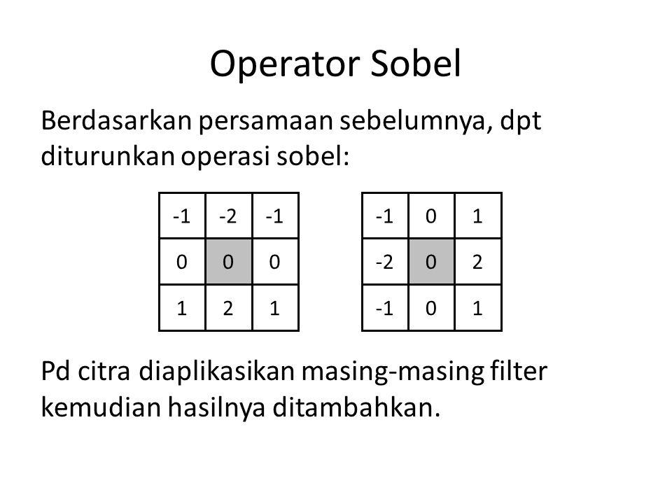 Operator Sobel Berdasarkan persamaan sebelumnya, dpt diturunkan operasi sobel: