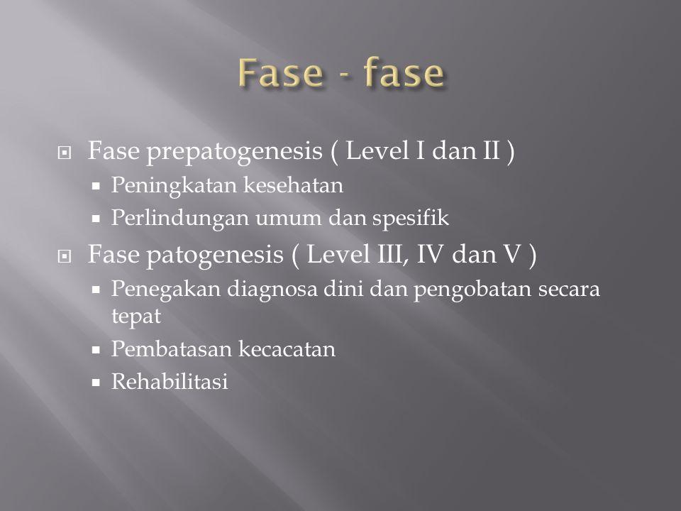 Fase - fase Fase prepatogenesis ( Level I dan II )