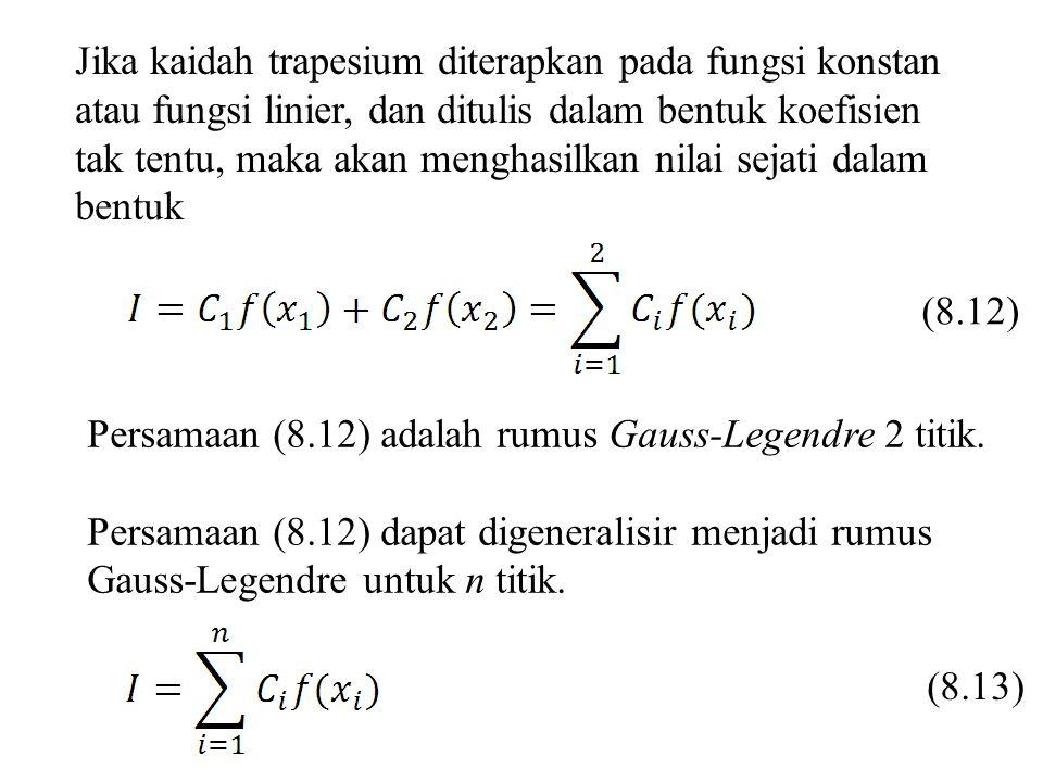 Jika kaidah trapesium diterapkan pada fungsi konstan atau fungsi linier, dan ditulis dalam bentuk koefisien tak tentu, maka akan menghasilkan nilai sejati dalam bentuk