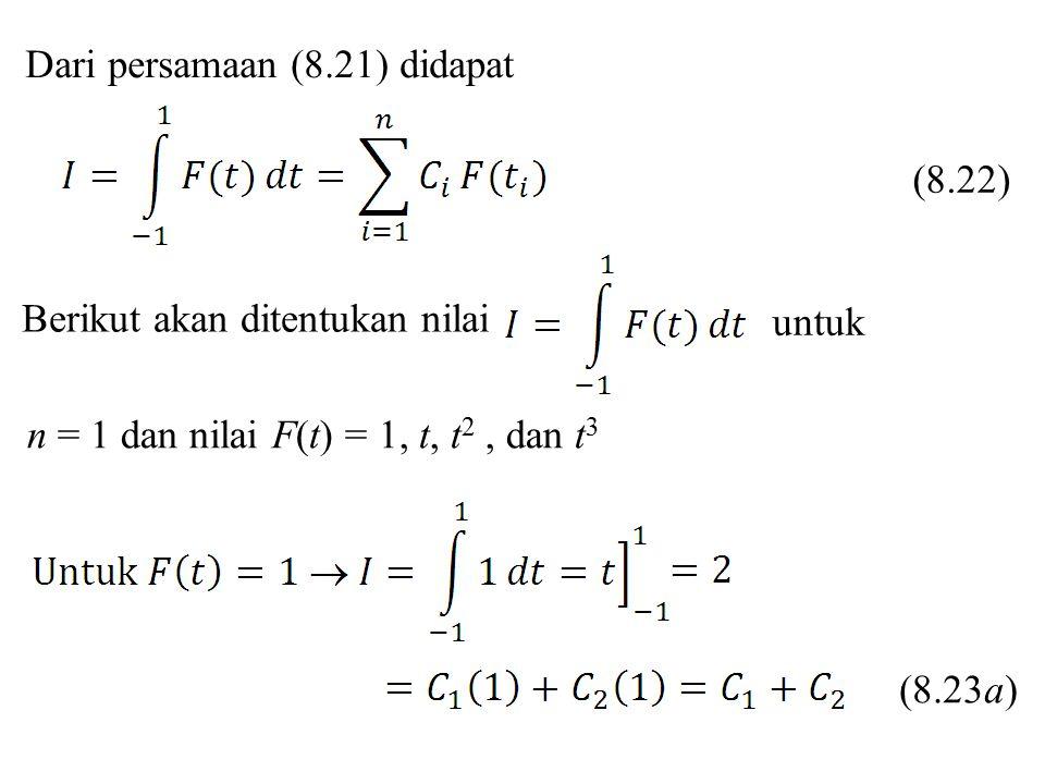 Dari persamaan (8.21) didapat