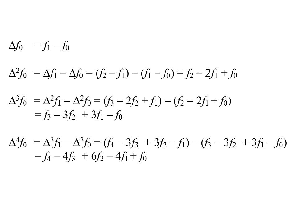 f0 = f1 – f0 2f0 = f1 – f0 = (f2 – f1) – (f1 – f0) = f2 – 2f1 + f0. 3f0 = 2f1 – 2f0 = (f3 – 2f2 + f1) – (f2 – 2f1 + f0)