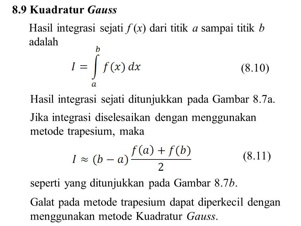 8.9 Kuadratur Gauss Hasil integrasi sejati f (x) dari titik a sampai titik b adalah. (8.10) Hasil integrasi sejati ditunjukkan pada Gambar 8.7a.