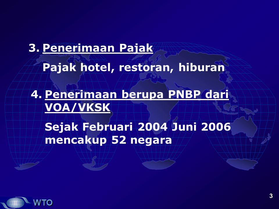Penerimaan Pajak Pajak hotel, restoran, hiburan. Penerimaan berupa PNBP dari VOA/VKSK.