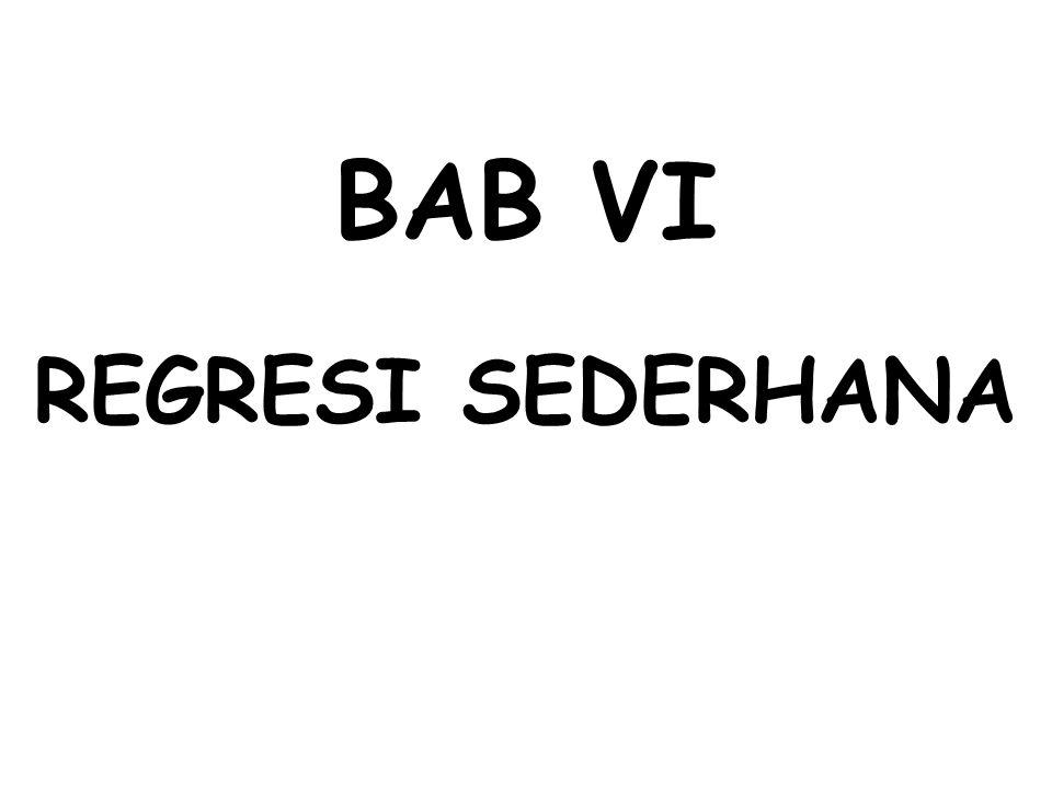BAB VI REGRESI SEDERHANA