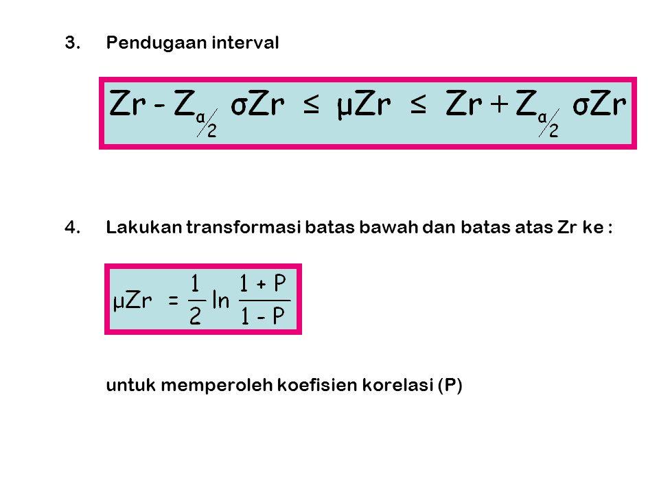 3. Pendugaan interval 4. Lakukan transformasi batas bawah dan batas atas Zr ke : untuk memperoleh koefisien korelasi (P)