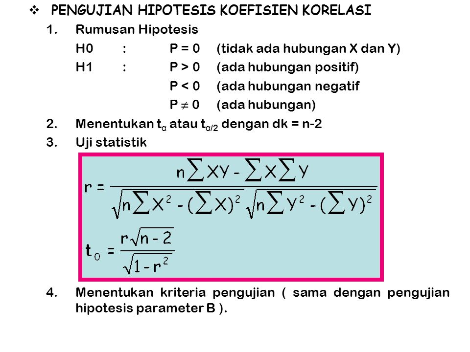 PENGUJIAN HIPOTESIS KOEFISIEN KORELASI