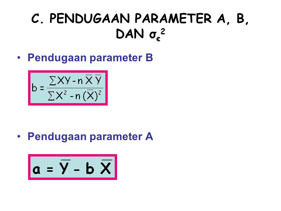 C. PENDUGAAN PARAMETER A, B, DAN σє2