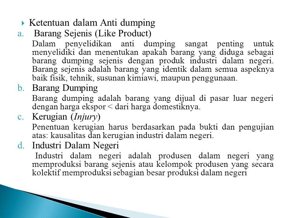 Ketentuan dalam Anti dumping