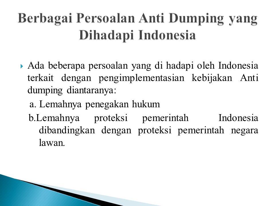 Berbagai Persoalan Anti Dumping yang Dihadapi Indonesia