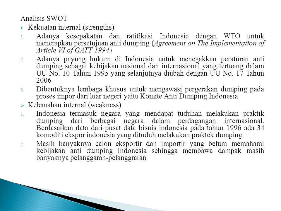 Analisis SWOT Kekuatan internal (strengths)
