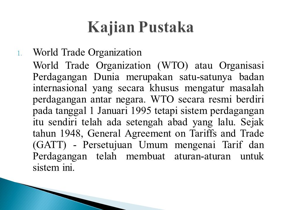 Kajian Pustaka World Trade Organization