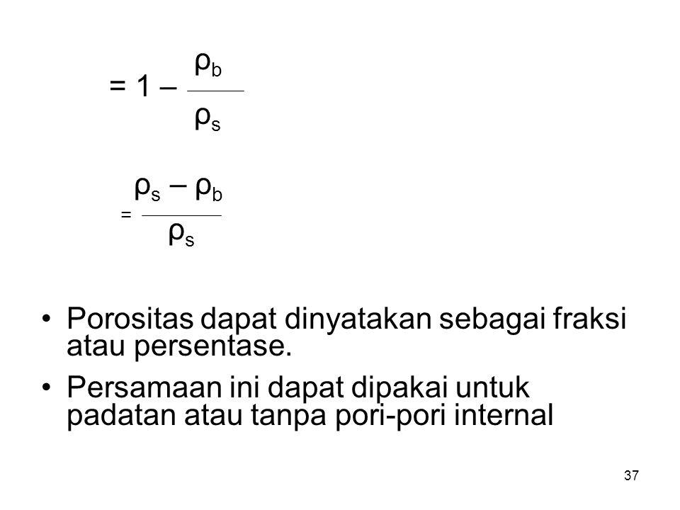 ρb = 1 – ρs. ρs – ρb. = Porositas dapat dinyatakan sebagai fraksi atau persentase.