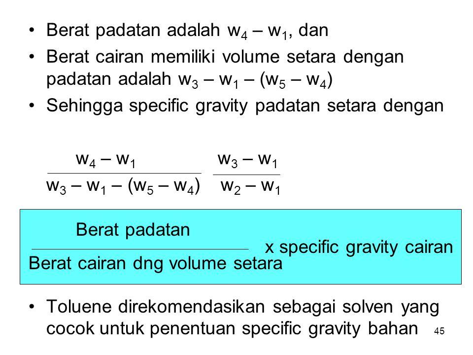 Berat padatan Berat padatan adalah w4 – w1, dan
