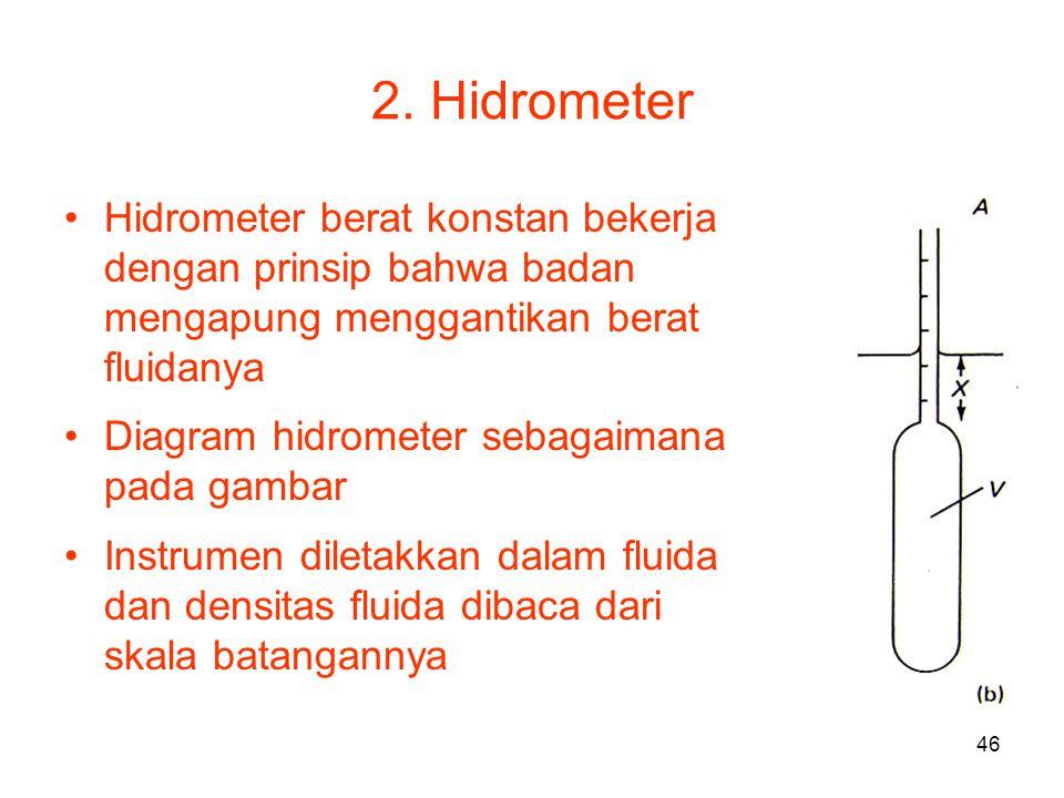 2. Hidrometer Hidrometer berat konstan bekerja dengan prinsip bahwa badan mengapung menggantikan berat fluidanya.