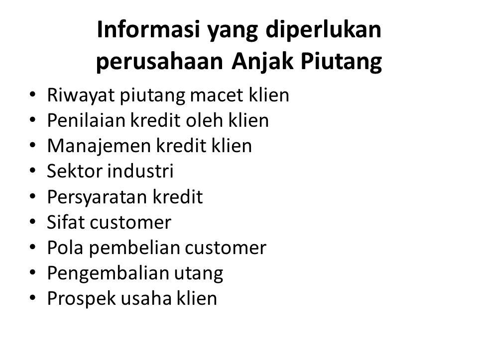 Informasi yang diperlukan perusahaan Anjak Piutang