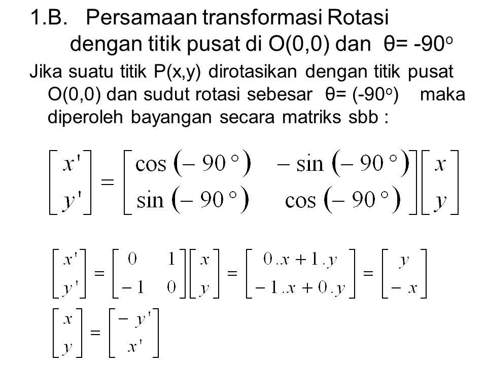 1.B. Persamaan transformasi Rotasi dengan titik pusat di O(0,0) dan θ= -90o