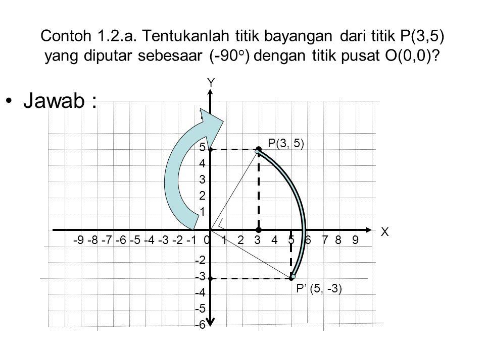 Contoh 1.2.a. Tentukanlah titik bayangan dari titik P(3,5) yang diputar sebesaar (-90o) dengan titik pusat O(0,0)