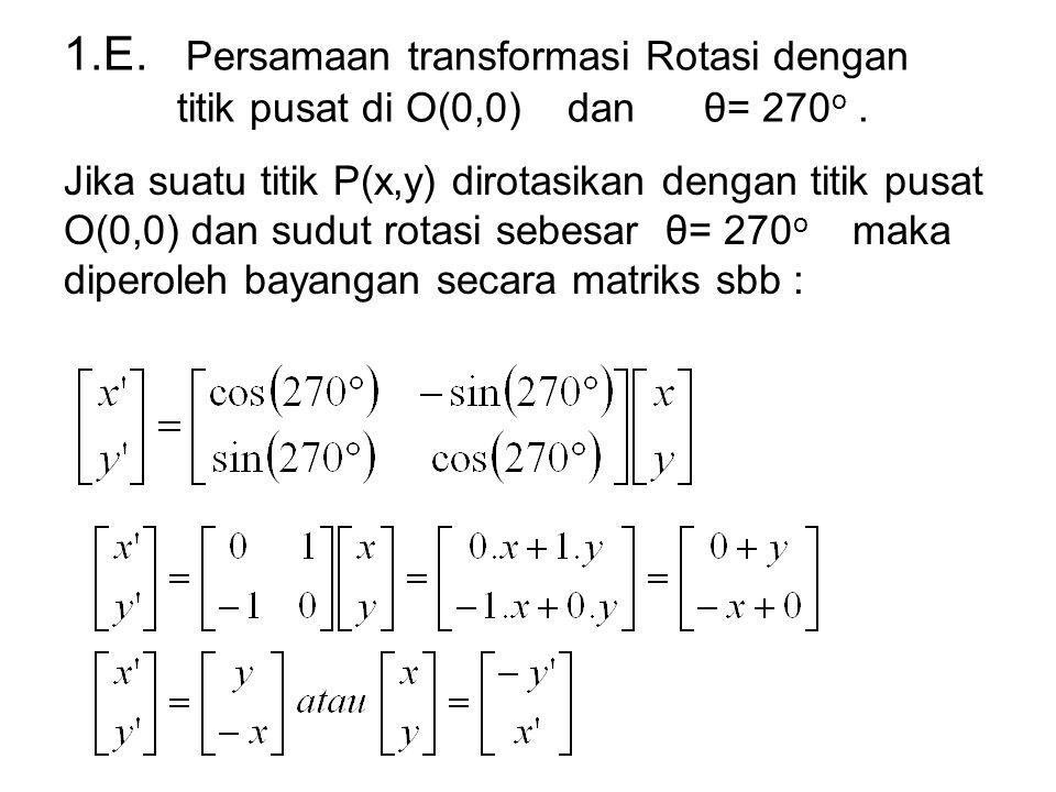 1.E. Persamaan transformasi Rotasi dengan titik pusat di O(0,0) dan θ= 270o .