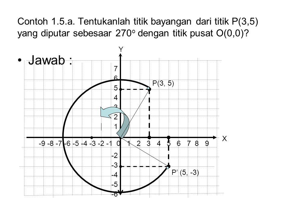 Contoh 1.5.a. Tentukanlah titik bayangan dari titik P(3,5) yang diputar sebesaar 270o dengan titik pusat O(0,0)