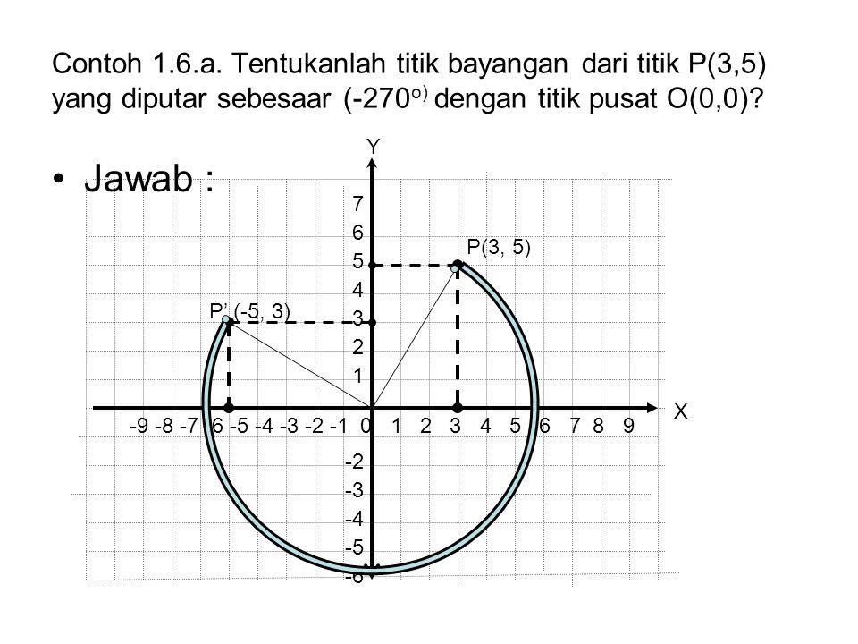 Contoh 1.6.a. Tentukanlah titik bayangan dari titik P(3,5) yang diputar sebesaar (-270o) dengan titik pusat O(0,0)
