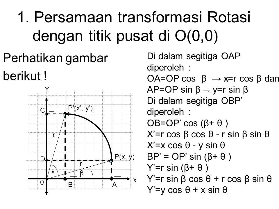 1. Persamaan transformasi Rotasi dengan titik pusat di O(0,0)