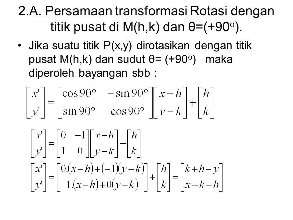 2.A. Persamaan transformasi Rotasi dengan titik pusat di M(h,k) dan θ=(+90o).