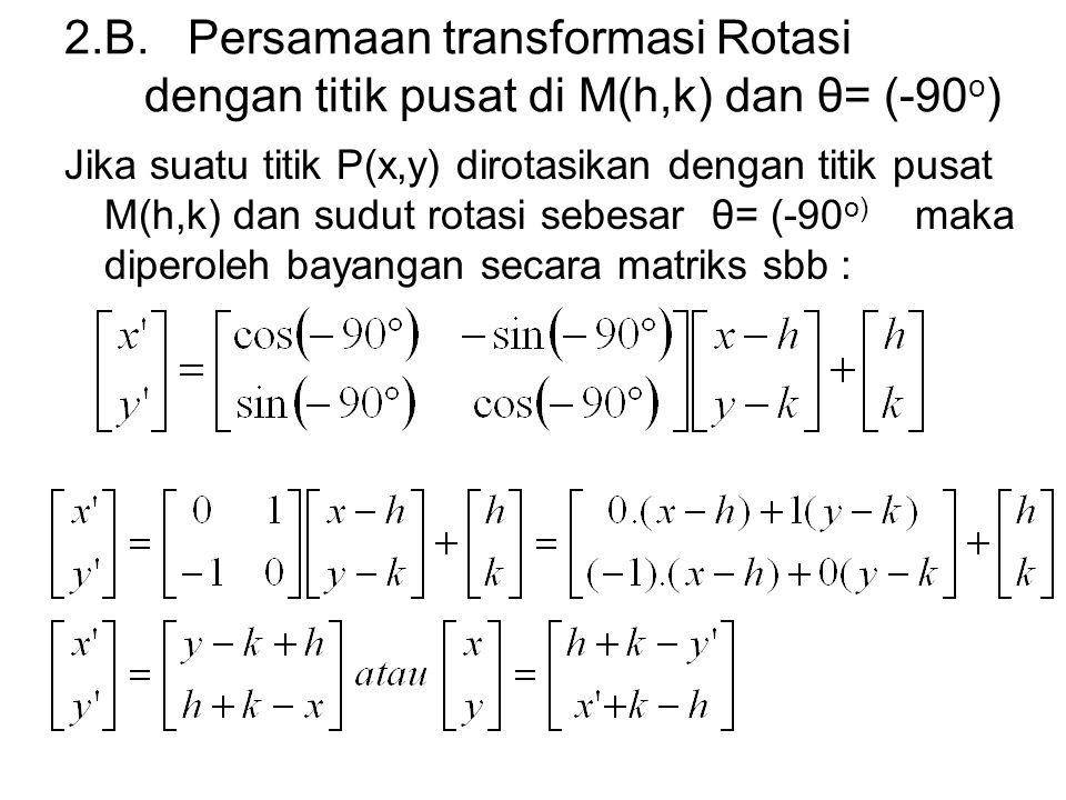 2.B. Persamaan transformasi Rotasi dengan titik pusat di M(h,k) dan θ= (-90o)