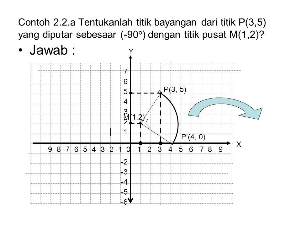 Contoh 2.2.a Tentukanlah titik bayangan dari titik P(3,5) yang diputar sebesaar (-90o) dengan titik pusat M(1,2)