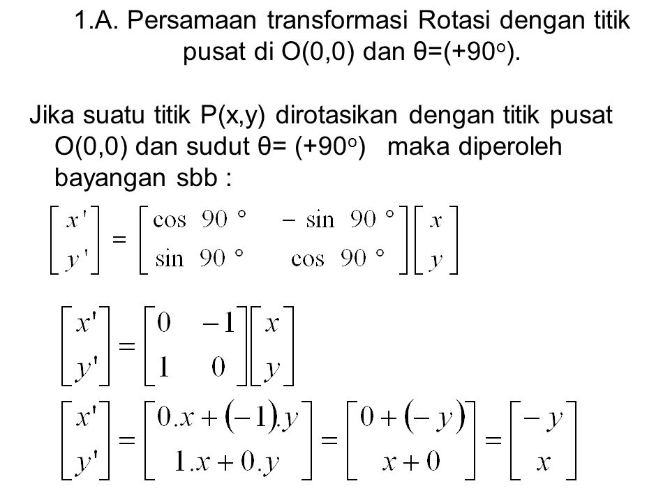 1.A. Persamaan transformasi Rotasi dengan titik pusat di O(0,0) dan θ=(+90o).