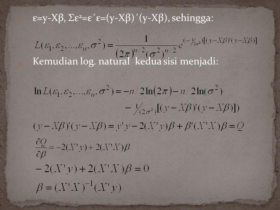 ε=y-Xβ, Σε2=ε΄ε=(y-Xβ)΄(y-Xβ), sehingga: