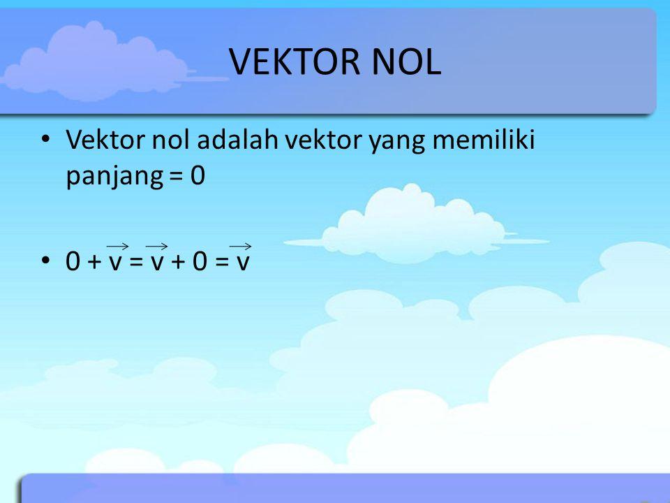 VEKTOR NOL Vektor nol adalah vektor yang memiliki panjang = 0
