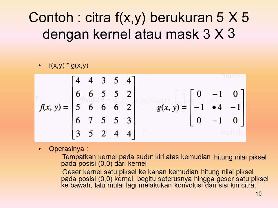 Contoh : citra f(x,y) berukuran 5 X 3 5 dengan kernel atau mask 3 X