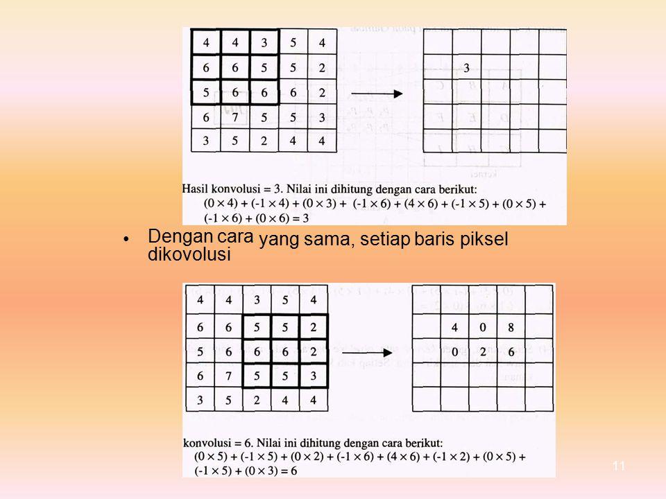 Dengan cara dikovolusi yang sama, setiap baris piksel