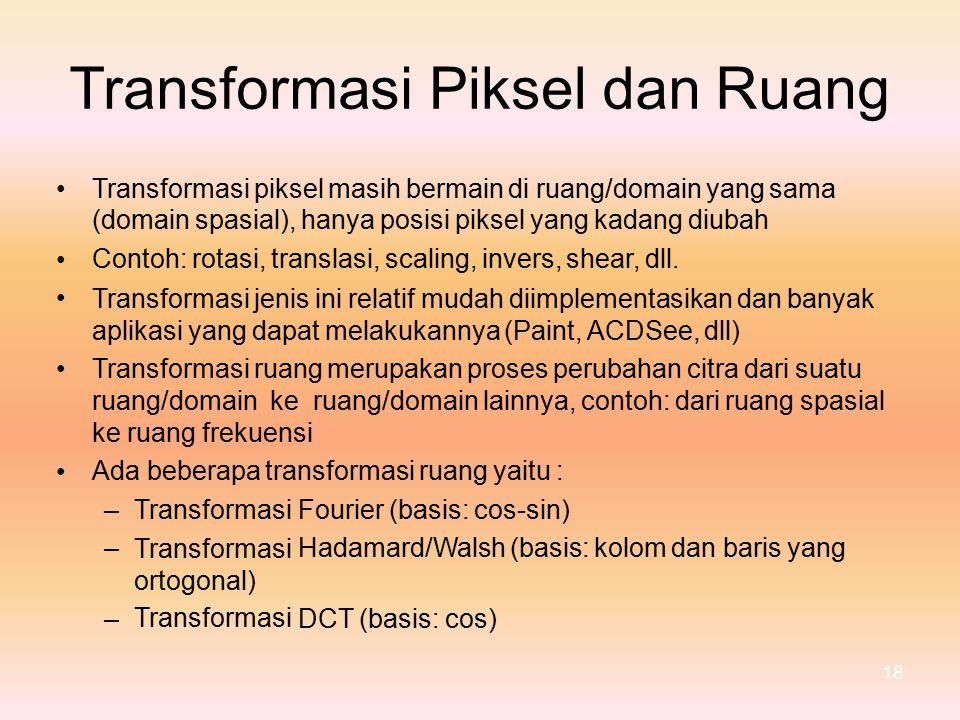 Transformasi Piksel dan Ruang •