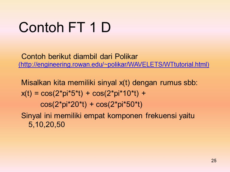 Contoh FT 1 D Contoh berikut diambil dari Polikar