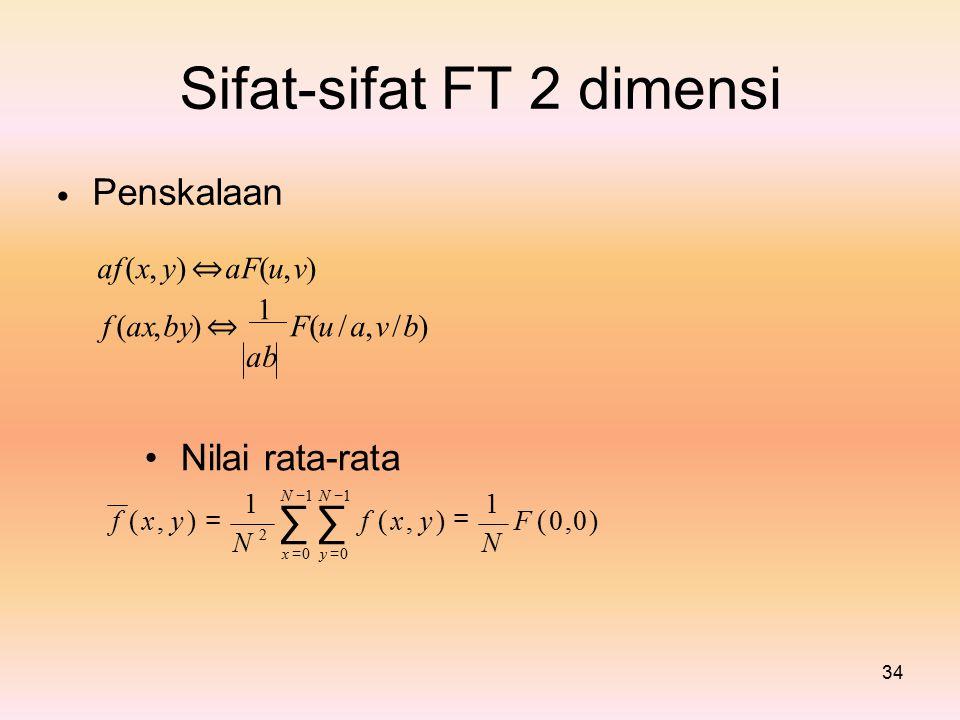 ∑ ∑ Sifat-sifat FT 2 dimensi = Penskalaan • • Nilai rata-rata