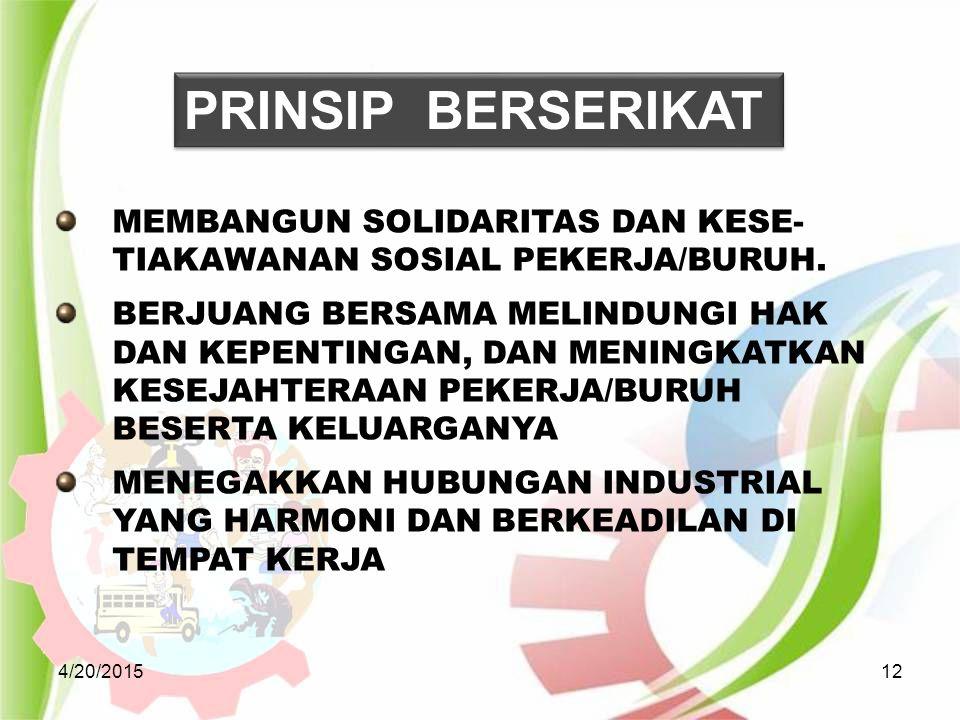 PRINSIP BERSERIKAT MEMBANGUN SOLIDARITAS DAN KESE-TIAKAWANAN SOSIAL PEKERJA/BURUH.