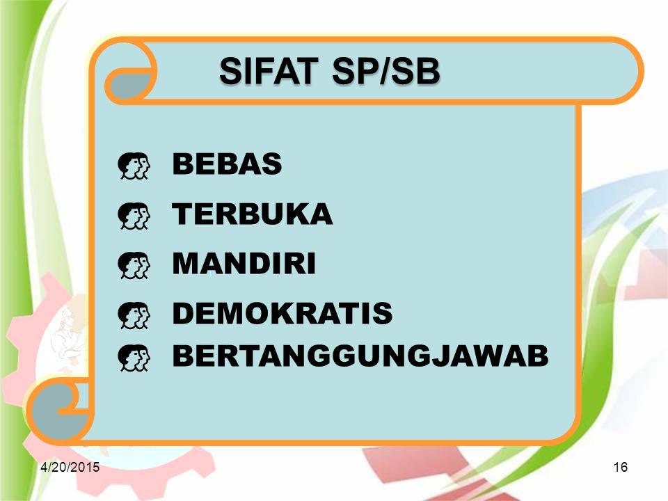 SIFAT SP/SB BEBAS TERBUKA MANDIRI DEMOKRATIS BERTANGGUNGJAWAB